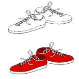 Línea arte de las zapatillas de deporte stock de ilustración