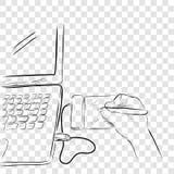 Línea arte del bosquejo de artista Illustrator Creating Something que usa Pen Tab o la tableta gráfica ilustración del vector