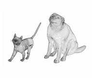 Línea arte del perro y del gato 3d Foto de archivo libre de regalías
