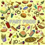 Línea arte del vector del diseño de los alimentos de preparación rápida Imagen de archivo libre de regalías