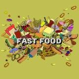 Línea arte del vector del diseño de los alimentos de preparación rápida Fotografía de archivo