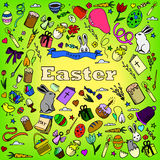 Línea arte del vector del diseño de Pascua Imagenes de archivo