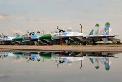 Línea avión Sukhoi Su-27 Foto de archivo libre de regalías