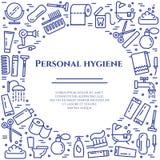 Línea azul bandera de la higiene personal Sistema de elementos de la ducha, del jabón, del cuarto de baño, del retrete, del cepil libre illustration