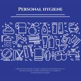 Línea azul bandera de la higiene personal Sistema de elementos de la ducha, del jabón, del cuarto de baño, del retrete, del cepil ilustración del vector
