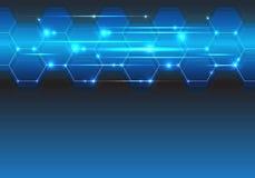 Línea azul espacio en blanco futurista del hexágono de la tecnología de la luz para el vector creativo moderno del fondo del dise Fotos de archivo