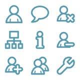 Línea azul iconos de los utilizadores Fotografía de archivo libre de regalías