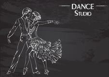 Línea baile de salón de baile de la tiza Latina de la danza Imágenes de archivo libres de regalías
