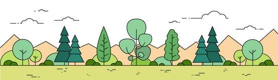 Línea bandera de Forest Mountain Landscape View Thin del verano stock de ilustración