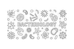 Línea bandera de la bacteriología Ejemplo de las bacterias del vector libre illustration
