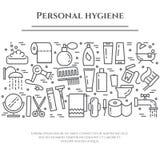 Línea bandera de la higiene personal Sistema de elementos de la ducha, del jabón, del cuarto de baño, del retrete, del cepillo de libre illustration