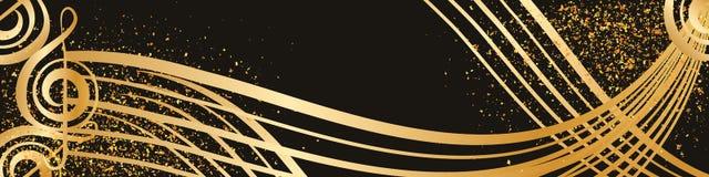 Línea bandera de oro del oro de la música del brillo del estilo de la onda stock de ilustración