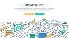 Línea bandera plana del héroe del negocio del diseño con el hombre de negocios del super héroe Foto de archivo