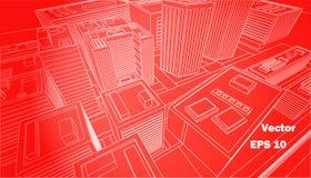 Línea blanca del fondo rojo de la ciudad de la visión superior Fotografía de archivo