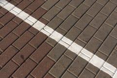 Línea blanca en el pavimento bicolor Fotografía de archivo