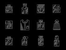 Línea blanca iconos de los perfumes para hombre fijados Imágenes de archivo libres de regalías