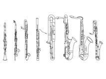 Línea blanco y negro dibujo del arte del ejemplo del octeto del instrumento de viento de madera stock de ilustración