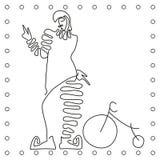 Línea blanco y negro plana ciclista del payaso del dibujo de la mano ilustración del vector