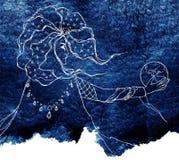 Línea bosquejo de la acuarela de la noche de los azules marinos del astrólogo del arte Imagen de archivo