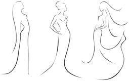 Línea bosquejos de mujeres atractivas Imagen de archivo libre de regalías