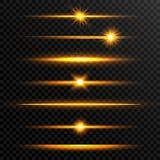 Línea brillante sistema Sistema realista de oro de la llamarada de la lente Colección de efectos luminosos del oro sobre fondo tr stock de ilustración