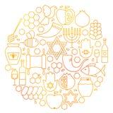 Línea círculo de Rosh Hashanah del icono Foto de archivo libre de regalías