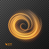 Línea círculo del efecto luminoso del vector del oro Rastro ligero del anillo del fuego que brilla intensamente Efecto mágico del libre illustration