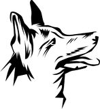 Línea cabeza de perro blanco y negro del arte Imagenes de archivo