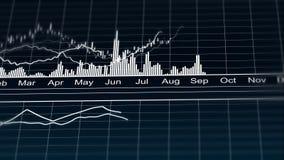 Línea carta animada que representa los datos de las estadísticas demográficas, gráfico analítico ilustración del vector