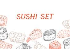 Línea cartel del sushi y de los rollos Imagenes de archivo