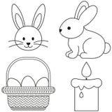 Línea cartel determinado del icono de la cesta del huevo de la vela del conejito del icono blanco y negro de pascua del arte libre illustration