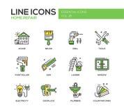 Línea casera iconos de la reparación del diseño fijados libre illustration