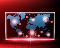 Línea cibernética ataque del mapa del mundo por el fondo rojo del concepto del pirata informático V libre illustration