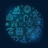 Línea circular ejemplo del vector azul de la Feliz Navidad ilustración del vector