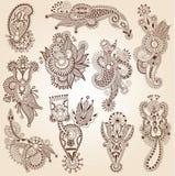 Línea colección adornada del diseño floral del arte, Foto de archivo