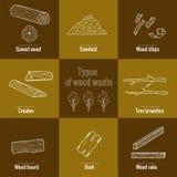 Línea colección del icono del estilo - elementos inútiles de madera stock de ilustración