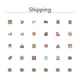 Línea coloreada de envío iconos libre illustration