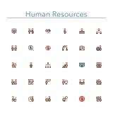Línea coloreada iconos de los recursos humanos Imágenes de archivo libres de regalías