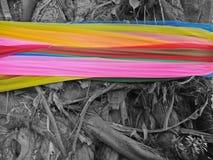 Línea colorida del paño en el tronco de árbol para dios de la adoración Fotografía de archivo