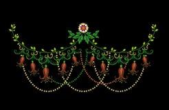 Línea colorida estampado de flores del cuello del bordado con las campánulas ilustración del vector
