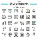 Línea colorida sistema del icono, tecnología de los aparatos electrodomésticos libre illustration