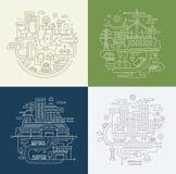 Línea composiciones del diseño fijadas - forma de vida de la ciudad, fábrica, viaje ilustración del vector