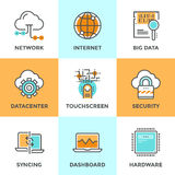 Línea computacional iconos de la nube fijados Imágenes de archivo libres de regalías