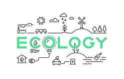 Línea concepto de la ecología Ambiente worming global del verde del ecosistema de la naturaleza que recicla industria Sistema del ilustración del vector