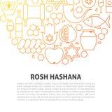 Línea concepto de Rosh Hashana Foto de archivo libre de regalías