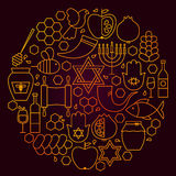 Línea concepto de Rosh Hashanah del icono Imagenes de archivo