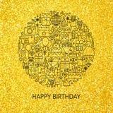 Línea concepto del oro del feliz cumpleaños stock de ilustración