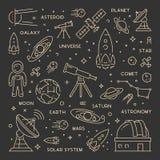 Línea concepto del oro del web para la astronomía ilustración del vector