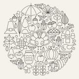 Línea concepto fijado iconos del día de fiesta del día de la acción de gracias del círculo Imágenes de archivo libres de regalías