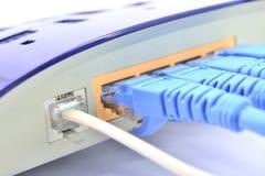 Línea conector y LAN Line de ADSL en el dispositivo de la red Foto de archivo